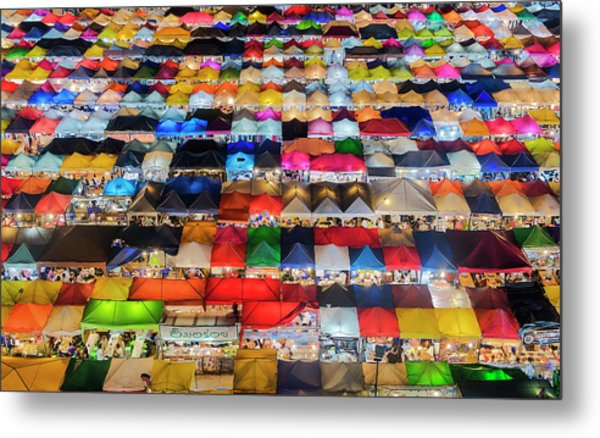 Metal Print featuring the photograph Colourful Night Market by Pradeep Raja Prints