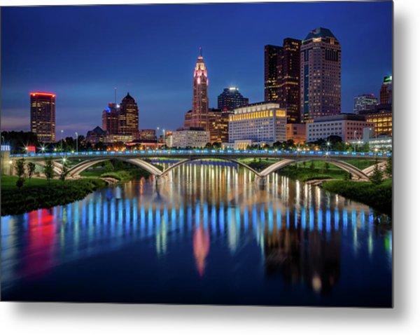 Metal Print featuring the photograph Columbus Ohio Skyline At Night by Adam Romanowicz
