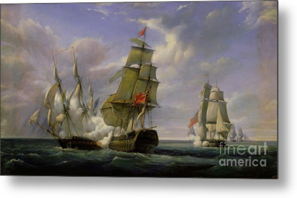 Combat Between The French Frigate La Canonniere And The English Vessel The Tremendous Metal Print