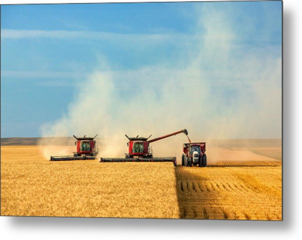 Combines And Tractor Working Together Metal Print