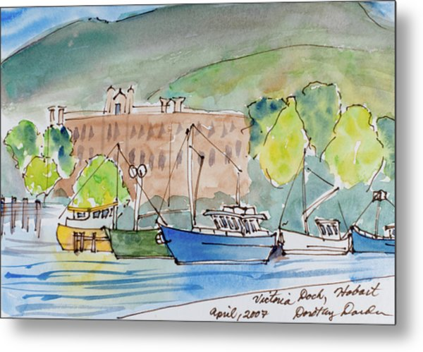 Fishing Boats In Hobart's Victoria Dock Metal Print