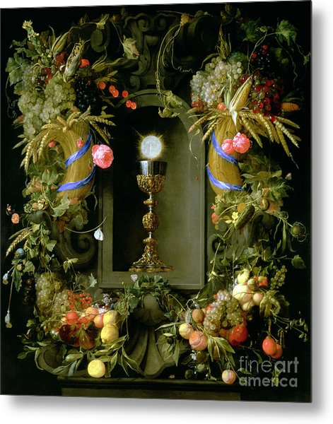 Communion Cup And Host Encircled With A Garland Of Fruit Metal Print