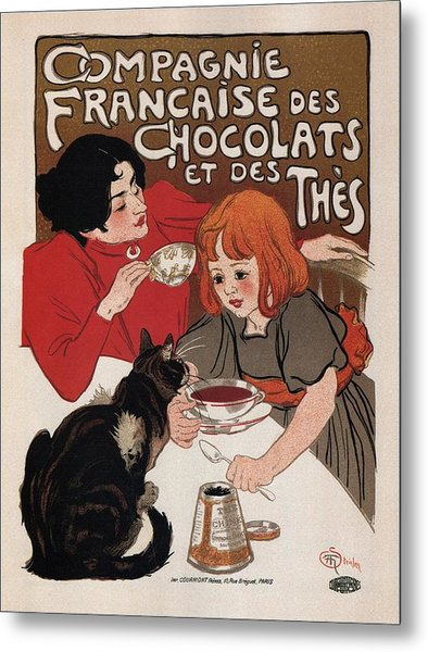 Compagnie Francaise Des Chocolats Et Des Thes - Vintage Chocolate And Tea Advertising Poster Metal Print
