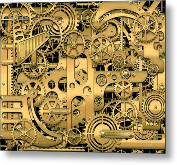 Complexity And Complications - Clockwork Gold Metal Print