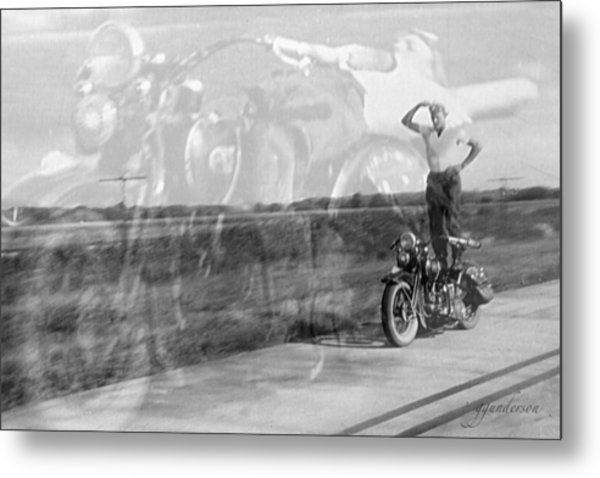 Composite Of 2 Old Harley Davidson Photographs Metal Print