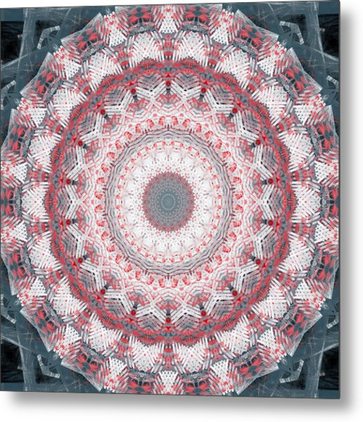 Concrete And Red Mandala- Abstract Art By Linda Woods Metal Print