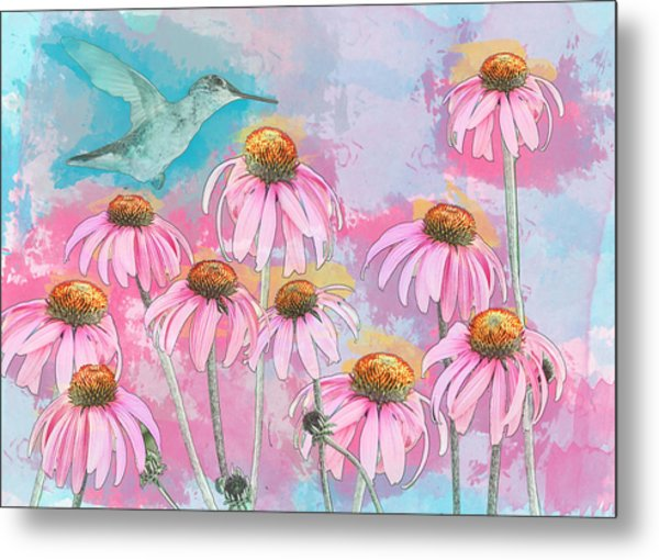 Metal Print featuring the photograph Coneflower Hummingbird Watercolor by Patti Deters