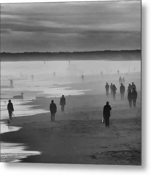 Coney Island Walkers Metal Print