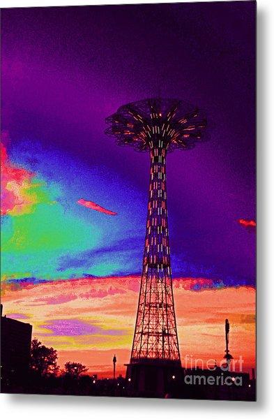 Coney Islands Parachute Jump Metal Print