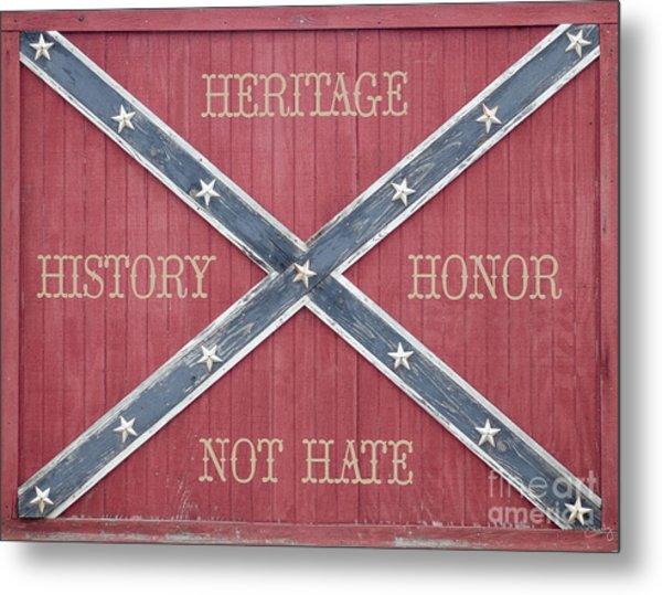 Confederate Flag On Wooden Door Metal Print