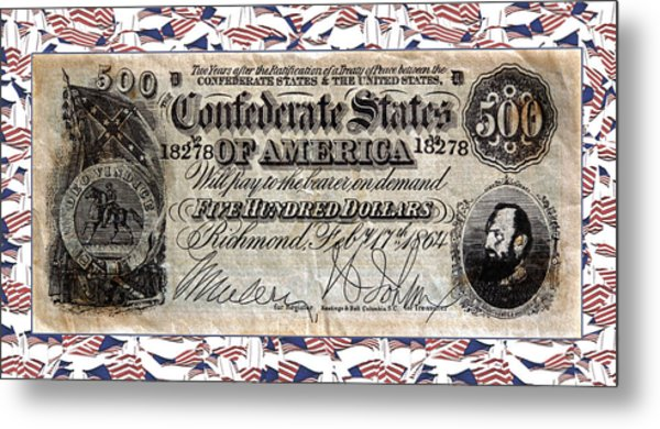 Confederate Money Metal Print