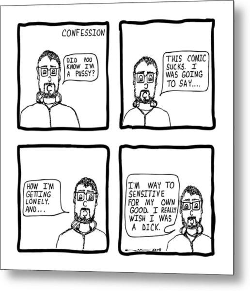 Confession Comic Metal Print by Karl Addison