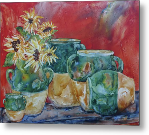 Metal Print featuring the painting Confits And Sunflowers by Paula Robertson