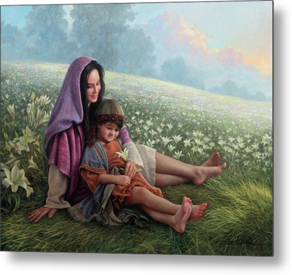 Metal Print featuring the painting Consider The Lilies by Greg Olsen