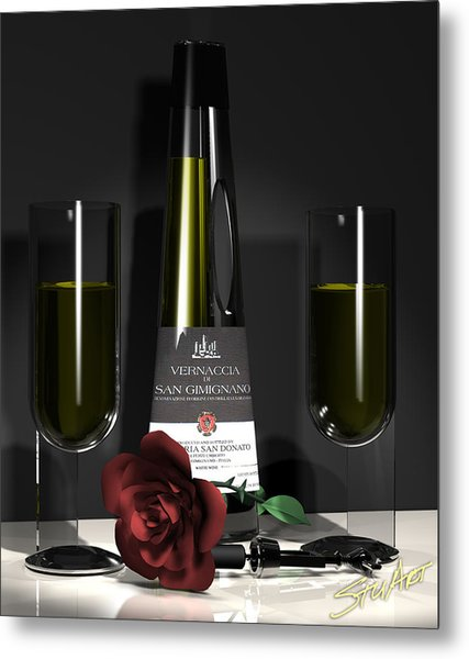 Contempoary Wine And Roses Metal Print