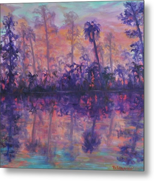 Contemporary Nature Painting Tropical Lake Sunset Metal Print