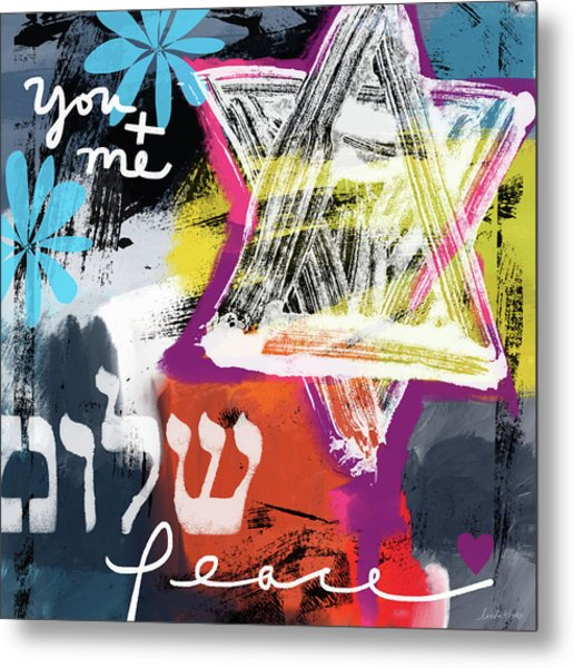 Contemporary Peace Star- Judaic Art By Linda Woods Metal Print