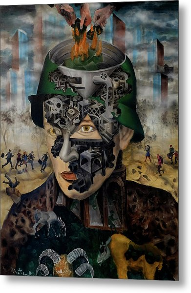 Metal Print featuring the painting Contemporary War by Obie Platon