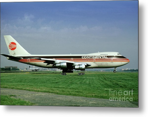 Continental Airlines Boeing 747-243b, N605pe, October 1988 Metal Print