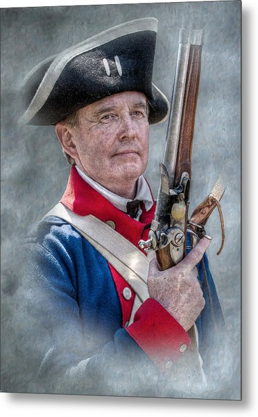 Continental Soldier Portrait Metal Print by Randy Steele