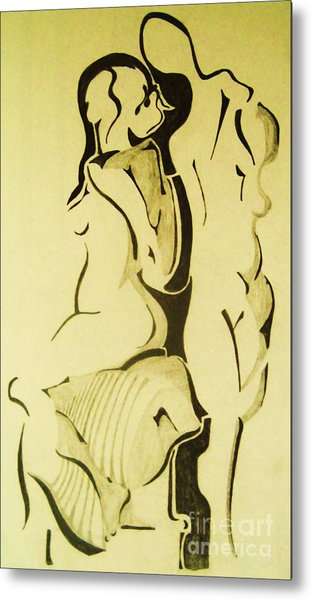 Conversation Of Two Nudes  Metal Print by Reb Frost