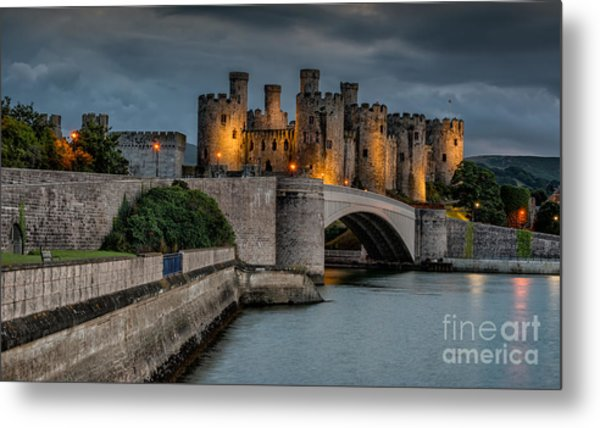 Conwy Castle By Lamplight Metal Print