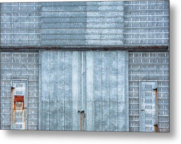 Cool Blue Steel Building Metal Print