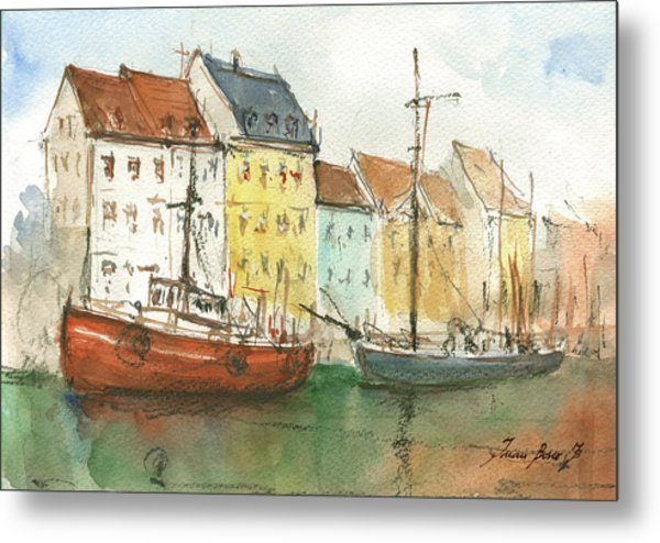 Copenhagen Harbour With Boats Metal Print