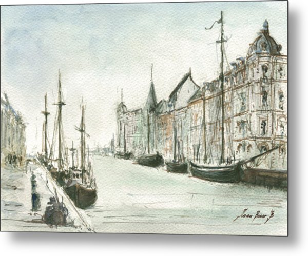 Copenhagen With Snow Metal Print