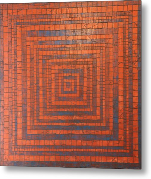 Copper And Cerulean Crack Metal Print by Tracy Fetter