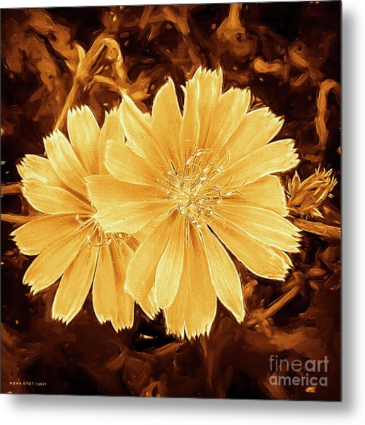 Blue Daisy Twins Copper Metal Print