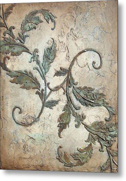 Copper Leaves Metal Print