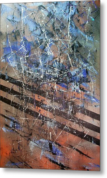 Copper To Blue Abstract Metal Print by Lynda McDonald
