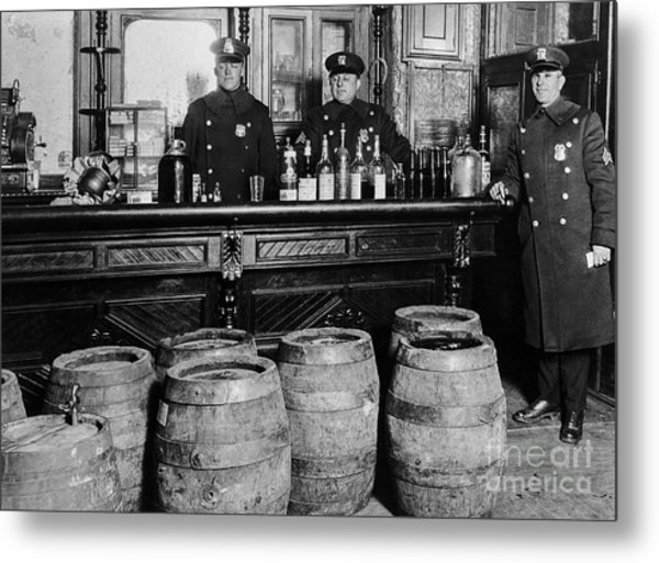 Cops At The Bar Metal Print