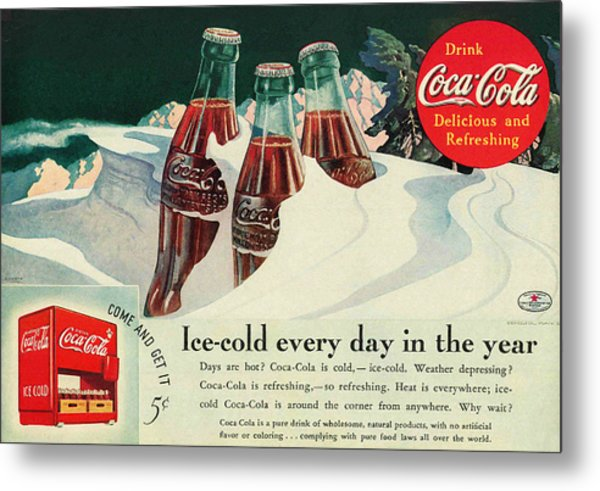 Copy Of A 1925 Coca Cola Ad Metal Print