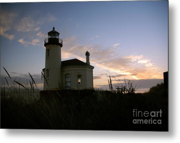 Coquille River Lighthouse At Sunset Metal Print