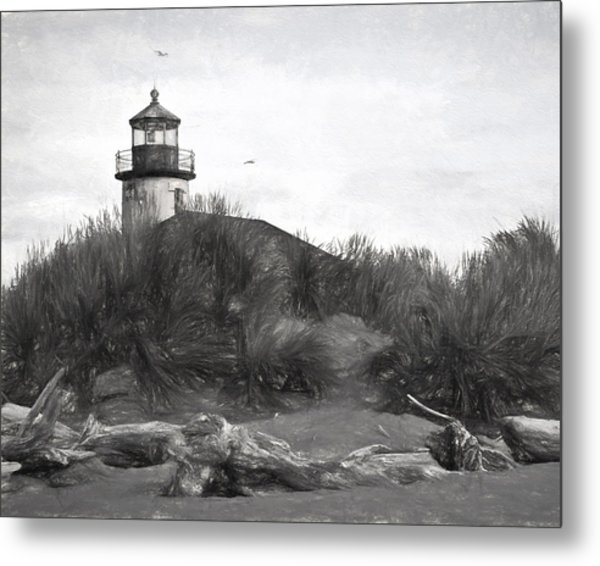 Coquille River Lighthouse Oregon Black And White Giclee Art Print Metal Print