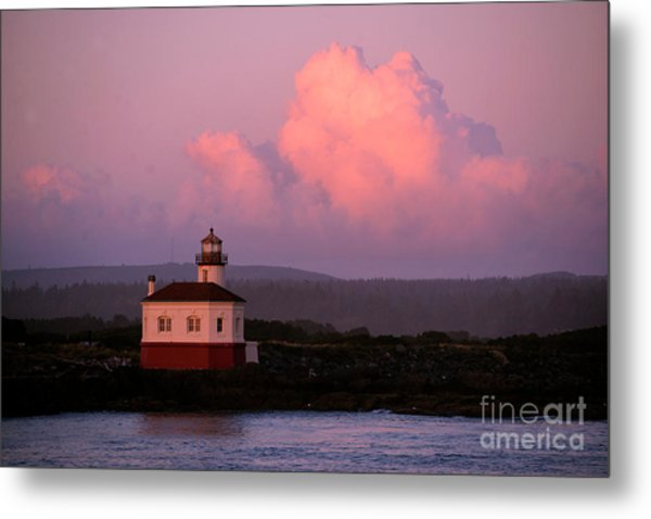 Coquille River Lighthouse Sunset Metal Print