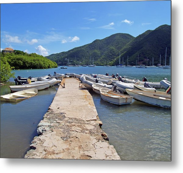 Coral Bay Dinghy Dock Metal Print
