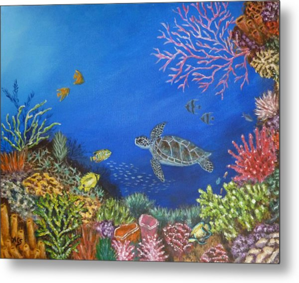 Metal Print featuring the painting Coral Reef by Amelie Simmons