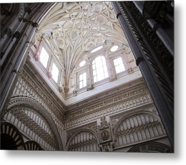 Cordoba Cathedral Ancient Ornate Ceiling Iv Spain Metal Print
