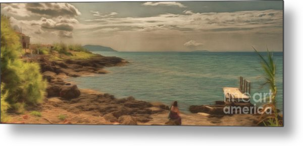 Metal Print featuring the photograph Corfu 15  - My Lady On The Rocks by Leigh Kemp