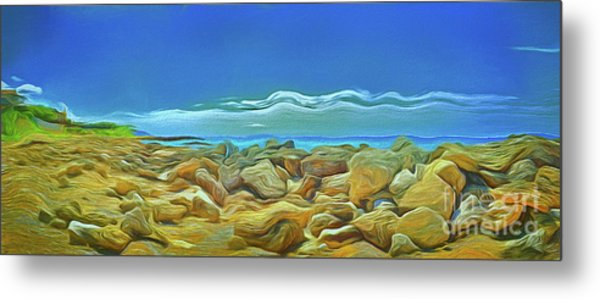 Metal Print featuring the photograph Corfu 3 - Surreal Rocks by Leigh Kemp