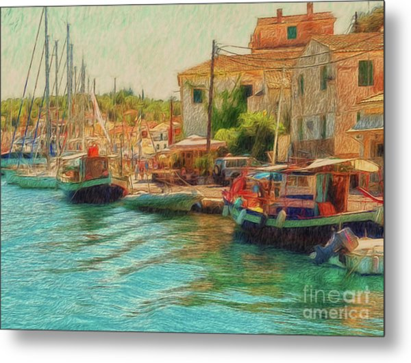 Metal Print featuring the photograph Corfu 39 - Boats Paxos by Leigh Kemp