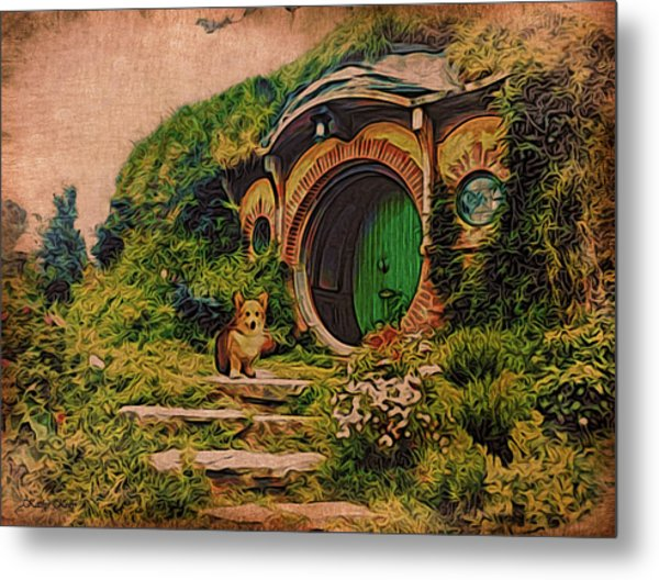 Corgi At Hobbiton Metal Print