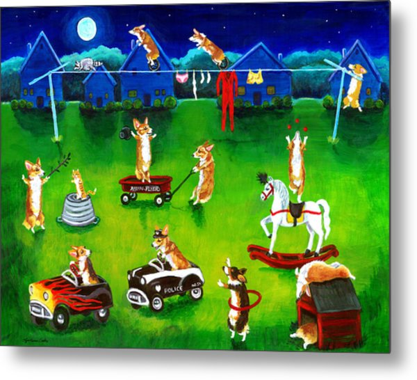 Corgi Backyard Circus Metal Print