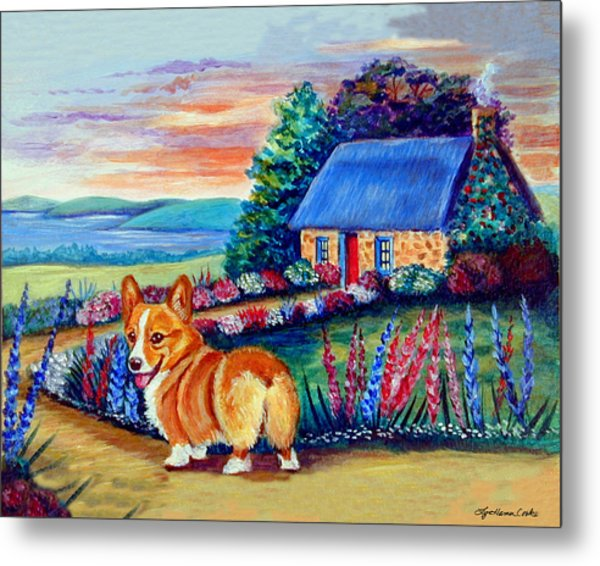 Corgi Cottage Sunrise Metal Print