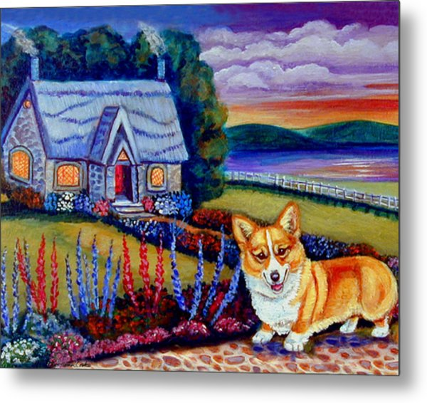 Corgi Cottage Sunset Metal Print