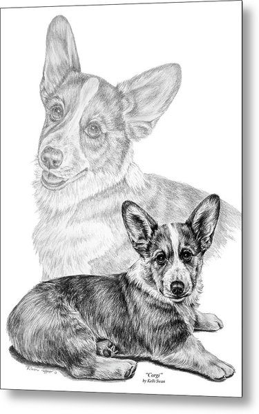 Corgi Dog Art Print Metal Print