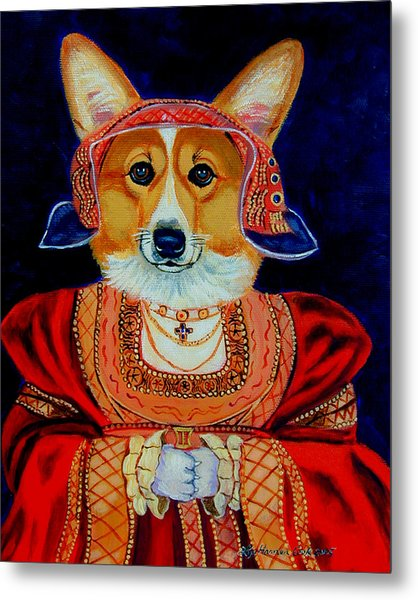 Corgi Queen Metal Print